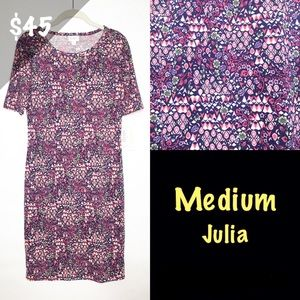 NWT LuLaRoe Medium Julia Dress Floral Purple Pink
